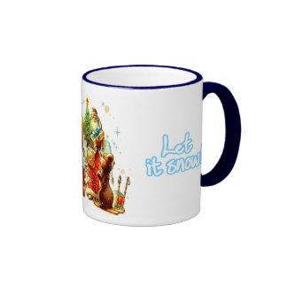 Vintage Christmas, Santa distributing gifts Ringer Coffee Mug
