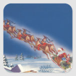 Vintage Christmas, Santa Flying Sleigh w Reindeer Square Stickers