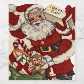 Vintage Christmas Santa Holiday drink label