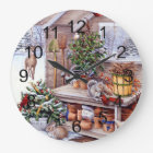 Vintage Christmas Santa Holiday Pattern Large Clock