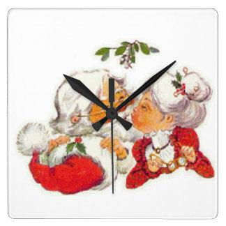 Vintage Christmas Santa Kissing Mrs Claus Square Wall Clock