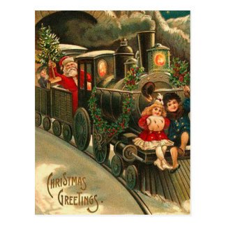 Vintage Christmas Santa On Train Postcard