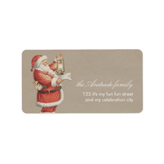 Vintage Christmas Santa Personalised Holiday Label