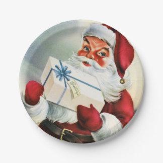 Vintage Christmas Santa retro party plate