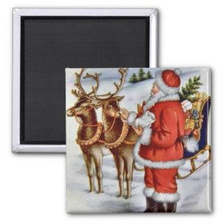 Vintage Christmas Santa Sleigh Reindeer Magnet