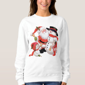 Vintage Christmas Santa snowman Holiday sweatshirt