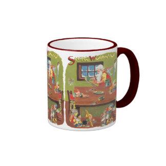 Vintage Christmas Santa with Elves in the Workshop Mugs