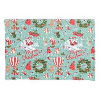 Vintage Christmas, Santa, wreath, Teddy Bear Pillowcase