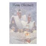 Vintage Christmas, Santa's Workshop at North Pole Custom Stationery