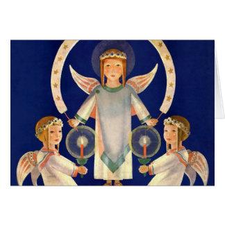 Vintage Christmas, Scandinavian Santa Lucia Angels Card