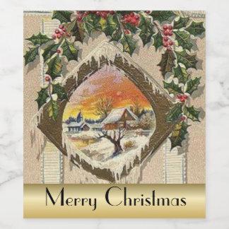 Vintage Christmas scene Holiday drink label