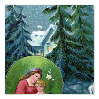 Vintage Christmas Scene Personalized Invitation