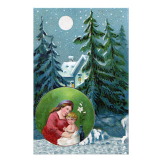 Vintage Christmas Scene Personalized Stationery
