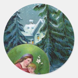 Vintage Christmas Scene Round Stickers
