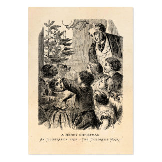 Vintage Christmas Scene Victorian Children by Tree Business Cards
