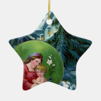Vintage Christmas Scene with Mother & Child Christmas Tree Ornament