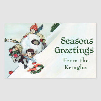 Vintage Christmas Season's Greetings Personalized Rectangular Sticker
