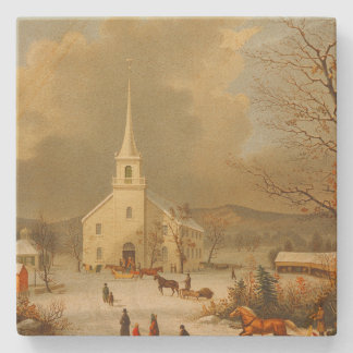 Vintage Christmas Services Painting Stone Coaster