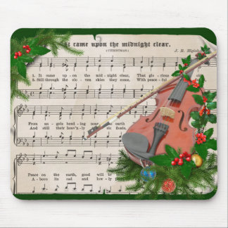Vintage Christmas Sheet Music with Festive Violin Mouse Pad