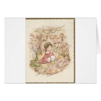 Vintage Christmas Shop Girl Card