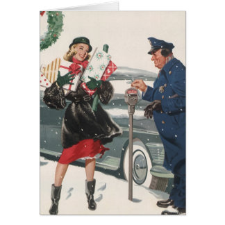 Vintage Christmas, Shopping Presents Policeman Card