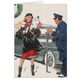 Vintage Christmas Shopping Presents Policeman Greeting Card