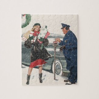 Vintage Christmas, Shopping Presents Policeman Jigsaw Puzzle