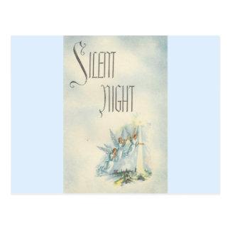 Vintage Christmas Silent Night Angels Postcard