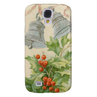Vintage Christmas Silver Bells Holly Galaxy S4 Covers