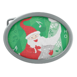 Vintage Christmas, Singing and Dancing Santa Claus Oval Belt Buckle