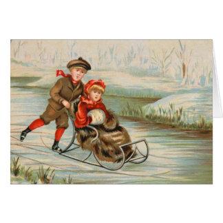 Vintage Christmas Sledding Cards