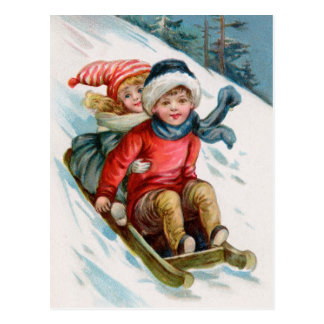 Vintage Christmas Sledding Postcards