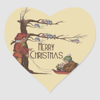 Vintage Christmas Sledding Heart Stickers