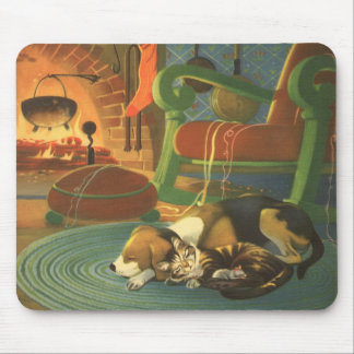 Vintage Christmas, Sleeping Animals by Fireplace Mouse Pad