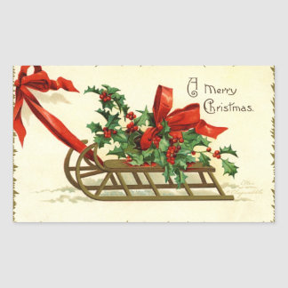 Vintage Christmas Sleigh greetings Rectangular Sticker