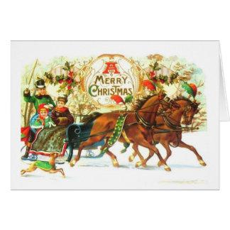 Vintage Christmas Sleigh Horses Card