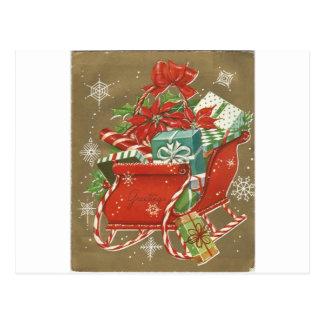 Vintage Christmas Sleigh On Gold Postcard