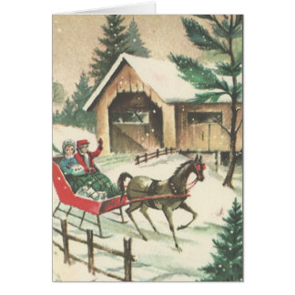 Vintage Christmas Sleigh Ride Card