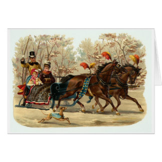 Vintage Christmas sleigh ride Christmas card