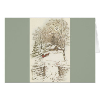 Vintage Christmas Sleigh Ride In Snow Card