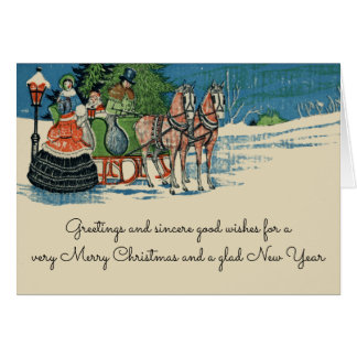 Vintage Christmas Sleigh Ride Old Fashioned Card