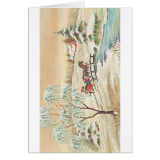 Vintage Christmas Sleigh Ride Scene Card