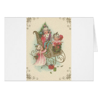 Vintage Christmas Sleigh With Angels Card