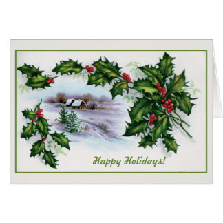 Vintage Christmas small houses, holly decorated Greeting Card