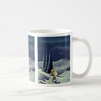 Vintage Christmas, Snow Angel Walking with a Star Coffee Mug