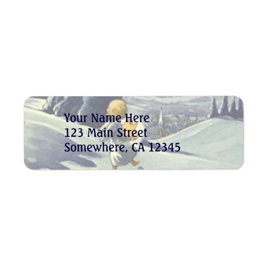 Vintage Christmas, Snow Angel Walking with a Star Return Address Label