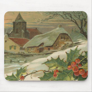 Vintage Christmas Snow Covered Town Mouse Pad