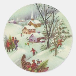 Vintage Christmas Snow Scene Classic Round Sticker