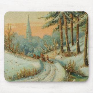Vintage Christmas Snow Trail Mouse Pad