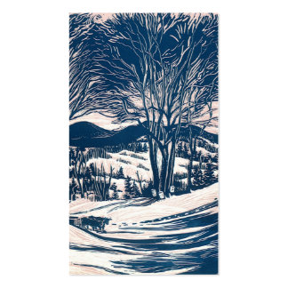 Vintage Christmas, Snow Trees Mountain Landscape Business Card